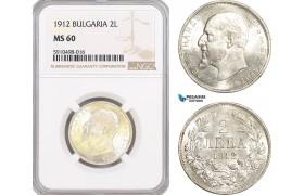 AF845, Bulgaria, Ferdinand I, 2 Leva 1912, Silver, NGC MS60