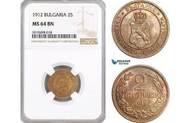 AF846, Bulgaria, Ferdinand I, 2 Stotinki 1912, NGC MS64BN