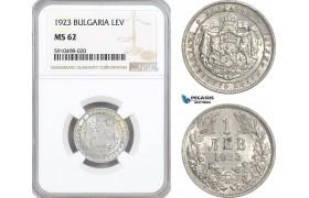 AF848, Bulgaria, Boris III, 1 Lev 1923, NGC MS62