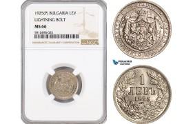 AF851, Bulgaria, Boris III, 1 Lev 1925 (P) Ligthing Bold, Poissy, NGC MS66