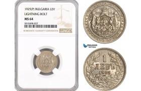 AF852, Bulgaria, Boris III, 1 Lev 1925 (P) Ligthing Bold, Poissy, NGC MS64