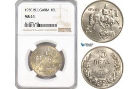 AF853, Bulgaria, Boris III, 10 Leva 1930, NGC MS64, Pop 1/3