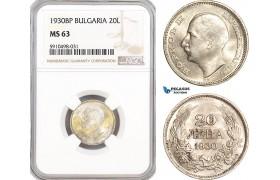 AF854, Bulgaria, Boris III, 20 Leva 1930-BP, Budapest, Silver, NGC MS63