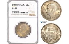 AF855, Bulgaria, Boris III, 50 Leva 1940-A, Berlin, NGC MS65, Pop 3/0