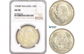 AF856, Bulgaria, Boris III, 100 Leva 1930-BP, Budapest, Silver, NGC AU58