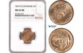 AF873, Denmark, Christian IX, 2 Øre 1874 CS, Copenhagen, NGC MS65RB