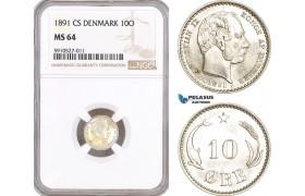 AF874, Denmark, Christian IX, 10 Øre 1891, Copenhagen, Silver, NGC MS64, Pop 5/1