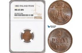 AF889, Finland, Alexander III. of Russia, 1 Penni 1883, NGC MS65BN