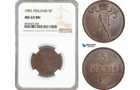 AF891, Finland, Nicholas II. of Russia, 5 Penniä 1901, NGC MS63BN