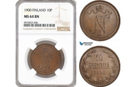 AF892, Finland, Nicholas II. of Russia, 10 Penniä 1900, NGC MS64BN