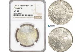 AF893, Finland, 500 Markkaa 1951-H, Helsinki, Silver, Olympics, NGC MS66, Pop 1/0