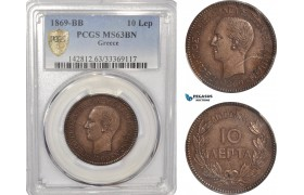 AF905, Greece, George I, 10 Lepta 1869-BB, Strasbourg, PCGS MS63BN