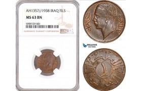 AF909, Iraq, Ghazi I, 1 Fils AH1357/1938, NGC MS63BN