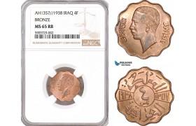 AF910, Iraq, Ghazi I, 4 Fils AH1357/1938, Bronze, NGC MS65RB