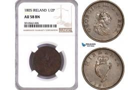 AF911, Ireland, George III, Half Penny 1805, Soho (Birmingham) Copper, NGC AU58BN