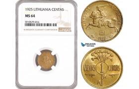 AF917, Lithuania, 1 Centas 1925, NGC MS64