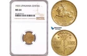 AF918, Lithuania, 1 Centas 1925, NGC MS64