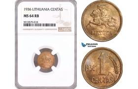 AF919, Lithuania, 1 Centas 1936, NGC MS64RB