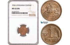 AF920, Lithuania, 1 Centas 1936, NGC MS62BN