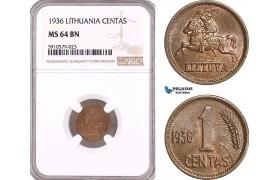 AF924, Lithuania, 1 Centas 1936, NGC MS64BN
