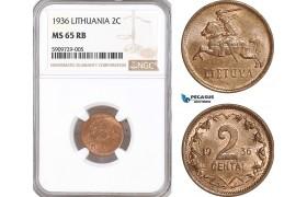 AF925, Lithuania, 2 Centai 1936, NGC MS65RB