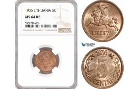 AF926, Lithuania, 5 Centai 1936, NGC MS64RB