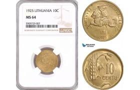 AF927, Lithuania, 10 Centu 1925, NGC MS64
