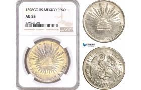 AF928, Mexico, Peso 1898 Go RS, Guanajuato, Silver, NGC AU58