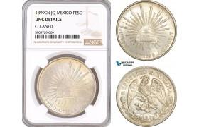 AF929, Mexico, Peso 1899 Cn JQ, Culiacán, Silver, NGC UNC Det.