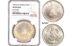 AF930, Mexico, Peso 1899 Zs FZ, Zacatecas, Silver, NGC AU Det.