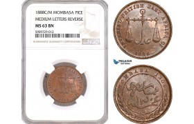 """AF933, Mombasa, Pice 1888 C/M """"Medium Letters Reverse"""" NGC MS63BN"""