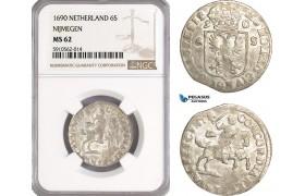 AF936, Netherlands, Dutch Republic, 6 Stuiver 1690, Nijmegen, NGC MS62, Pop 1/0