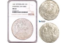 AF939, Netherlands, Overyssel, Lion Daalder 1641, Silver, Dav-4860, NGC MS63, Pop 1/0