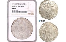 AF940, Netherlands, Utrecht, Silver Ducat 1694, Silver, Dav-4904, NGC MS61, Pop 1/1