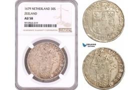 AF941, Netherlands, Zeeland, 30 Stuiver 1679, Silver, NGC AU58, Pop 1/0