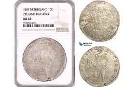 AF942, Netherlands, Zeeland, Double Daalder or 10 Schelling 1687, Dav-4973, Silver, NGC MS62, Pop 1/0
