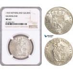 AF943, Netherlands, Gelderland, 1 Gulden 1765, Silver, NGC MS63, Pop 1/0