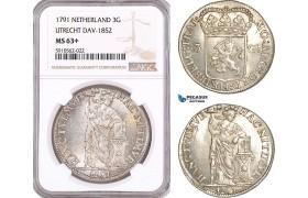 AF944, Netherlands, Utrecht, 3 Gulden 1791, Dav-1852, Silver, NGC MS63+, Pop 1/0