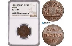 AF947, Netherlands, Utrecht, Duit 1785, NGC MS66BN, Pop 1/0