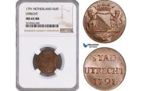 AF949, Netherlands, Utrecht, Duit 1791, NGC MS65RB
