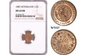 AF953, Netherlands, Willem III, 1/2 Cent 1885, Utrecht, NGC MS64RB