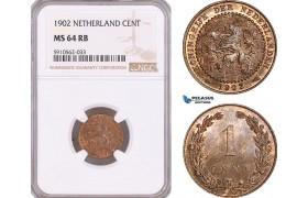 AF954, Netherlands, Wilhelmina, 1 Cent 1902, NGC MS64RB, Pop 1/0