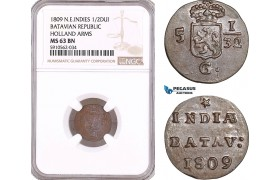 AF955, Netherlands East Indies, Batavian Rep. 1/2 Duit 1809, Holland Arms, NGC MS63BN