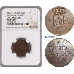 AF956, Netherlands East Indies, Batavian Rep. 1 Duit 1807, Holland Arms, NGC MS62BN, Pop 1/0