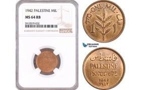 AF974, Palestine, 1 Mil 1942, London, NGC MS64RB