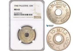 AF975, Palestine, 10 Mils 1940, London, NGC MS63
