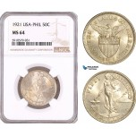 AF988, Philippines (US Administration) 50 Centavos 1921, Silver, NGC MS64