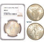 AF989, Philippines (US Administration) Peso 1907-S, San Francisco, Silver, NGC MS61