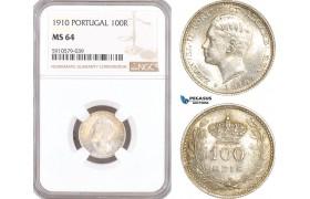 AF995, Portugal, Emanuel II, 100 Reis 1910, Silver, NGC MS64