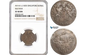 AG015, Singapore, Sultana, Keping AH1411 (1835) NGC XF40BN, Pop 1/5